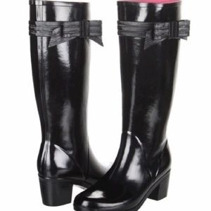 EUC ~ Kate Spade Tall Rain Boots w/ Bows! Heel! 8